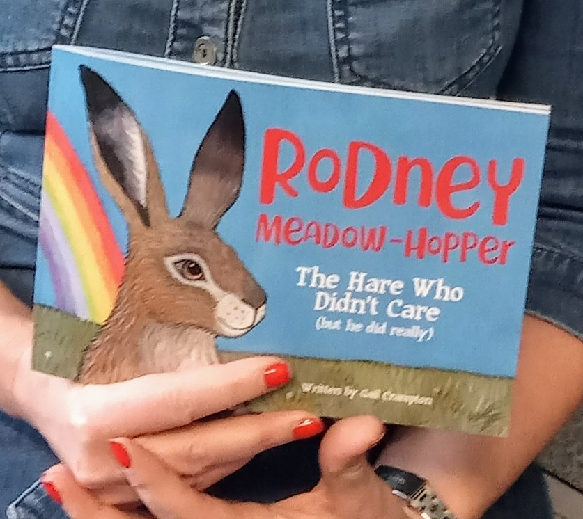 The front cover of Rodney Meadow Hopper, the hare that didn't care. The cover shows a drawing of a brown hair with a rainbow behind him.