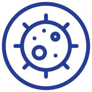 A blue circle containing a image   representing a virus.