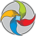 The LUC logo. A circle with 4 hands swirling together and meeting in the middle. The hands are 4 different bright colours - blue, yellow, green and red.