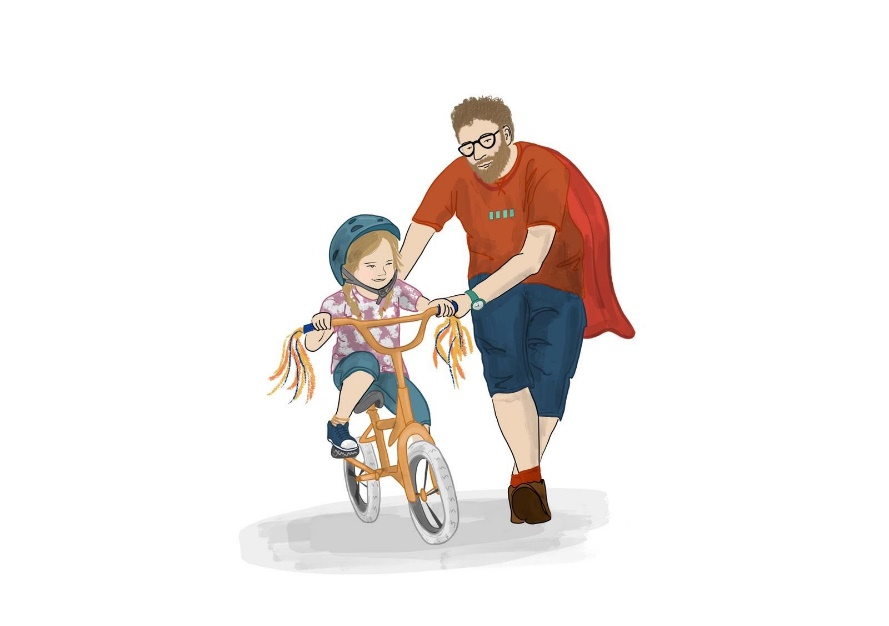 A picture from the book showing a Dad helping his daughter learn to ride a bike.