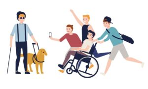 cartoon of students. 3 students are running and laughing whilst pushing a 4th friend in a wheelchair. They are running towards a 5th guy who is walking with a guide dog.
