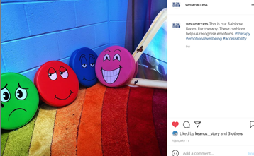 Image shows instagram post of 4 soft cushions with faces on showing different emotions.