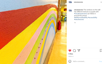 Image of instagram post shows a textured rainbow on the wall of the school that helps pupils move around the school.