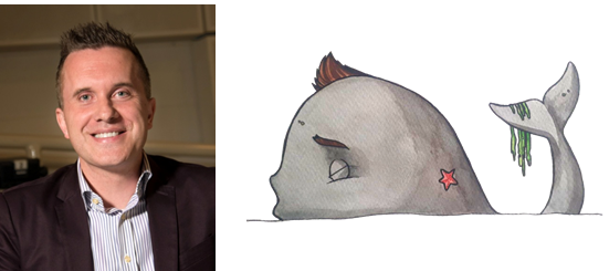 Image shows Phil Gallagher next to a cartoon whale that features a quiff of brown hair, like that sported by Phil.