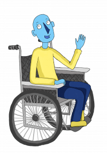 smiling cartoon character in a wheelchair, waving to you.