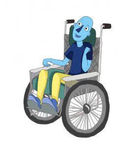 Character with cerebral palsy sits in his adapted wheelchair, smiling.